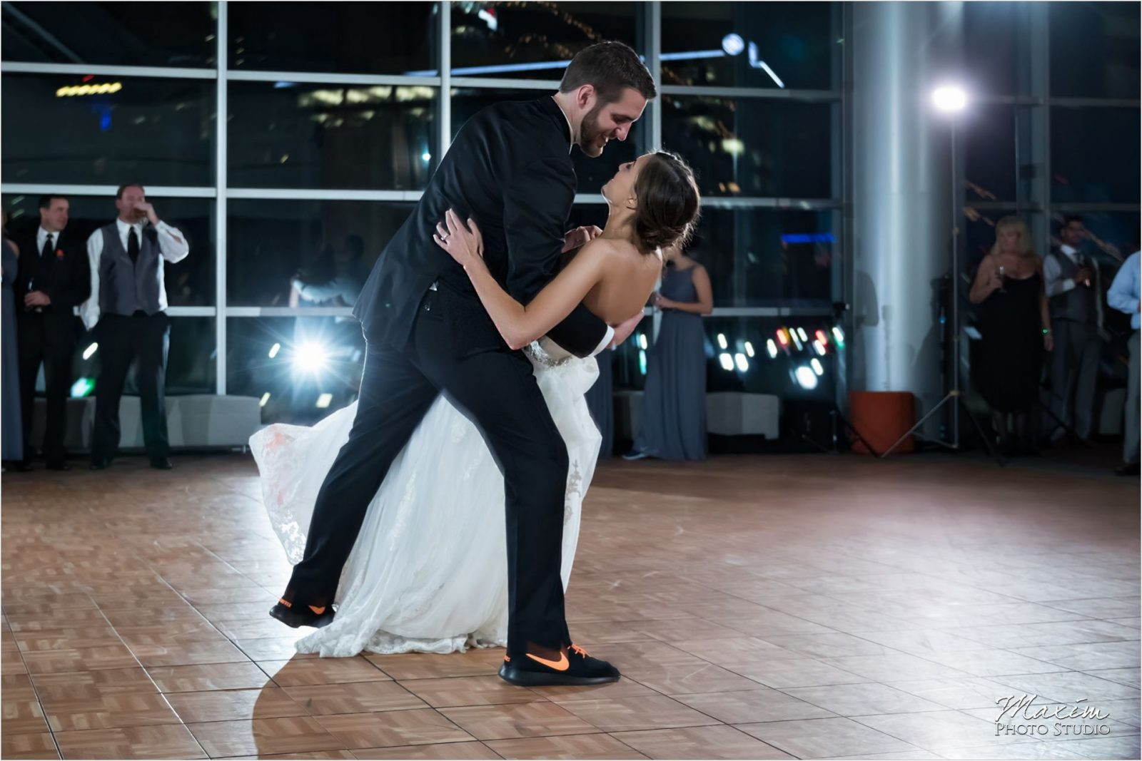 Paul Brown Stadium Cincinnati Wedding Photography Reception dance
