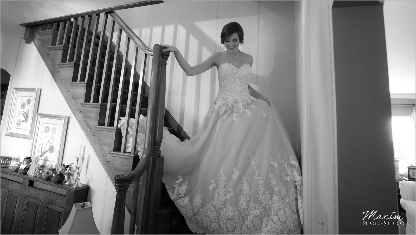 Cincinnati Carrie Karibo wedding dress bride walking down stairs