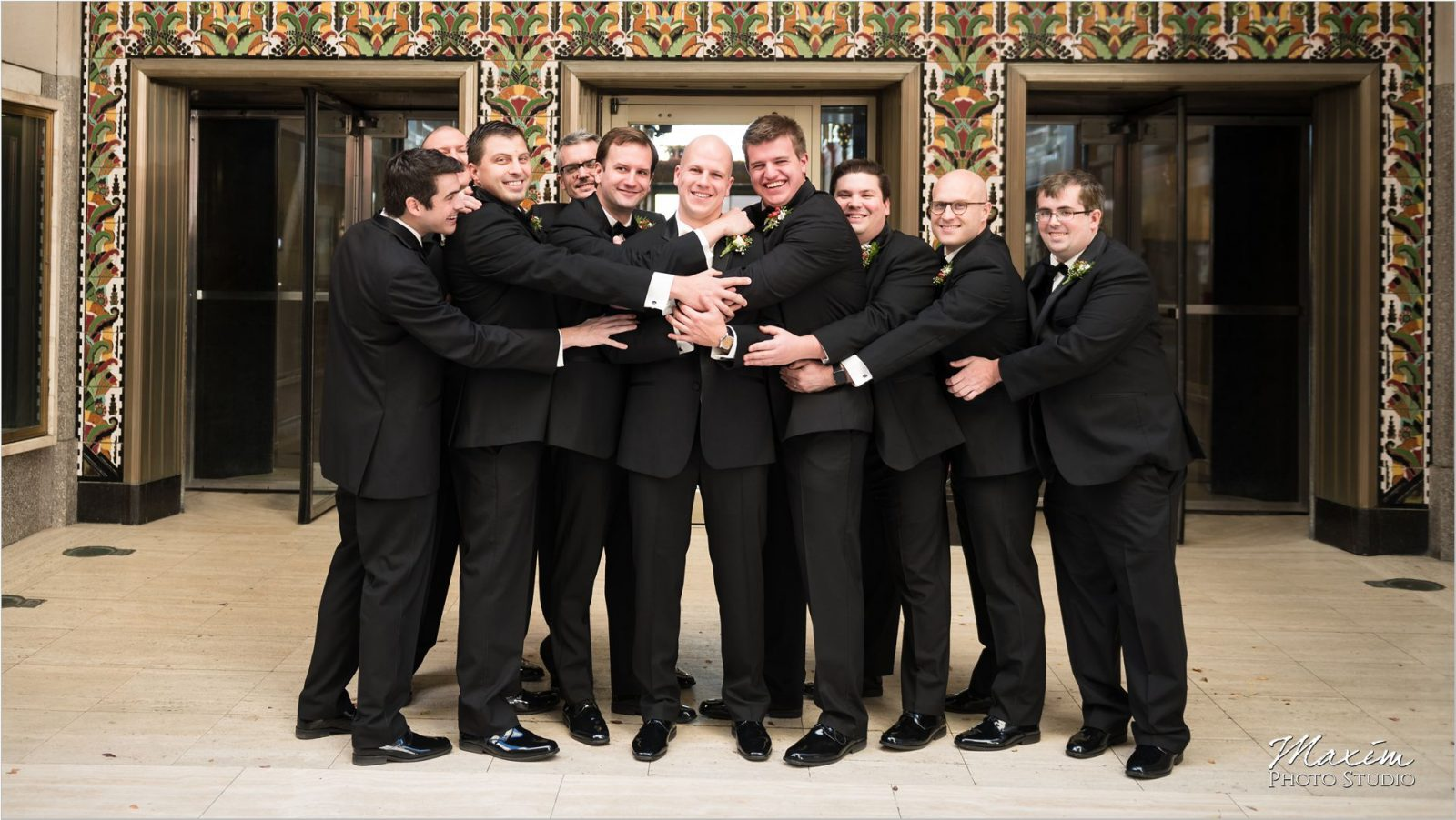 Groom groomsmen Dixie Terminal Wedding