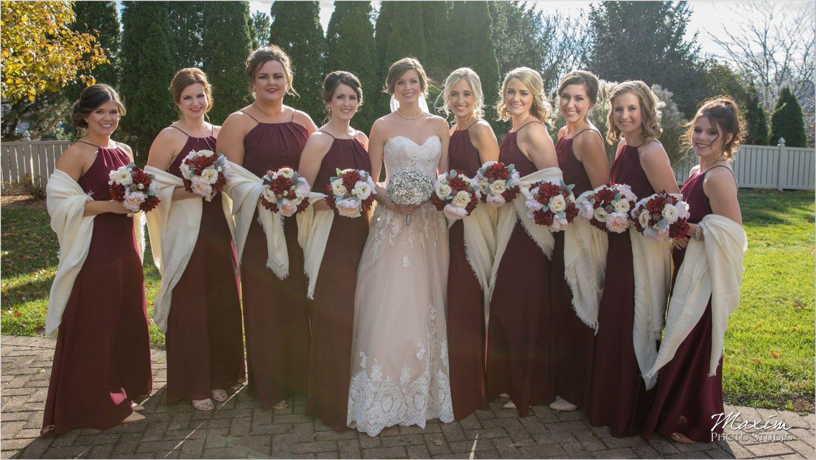 Bride bridesmaids shawls winter Cincinnati Wedding