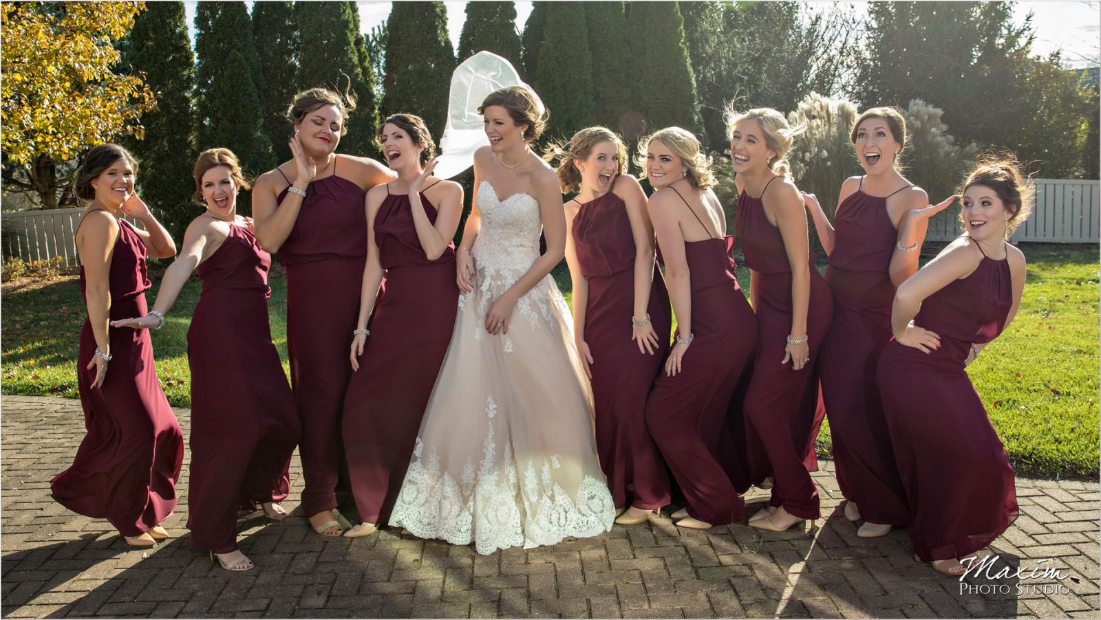 Bride bridesmaids wedding day picture