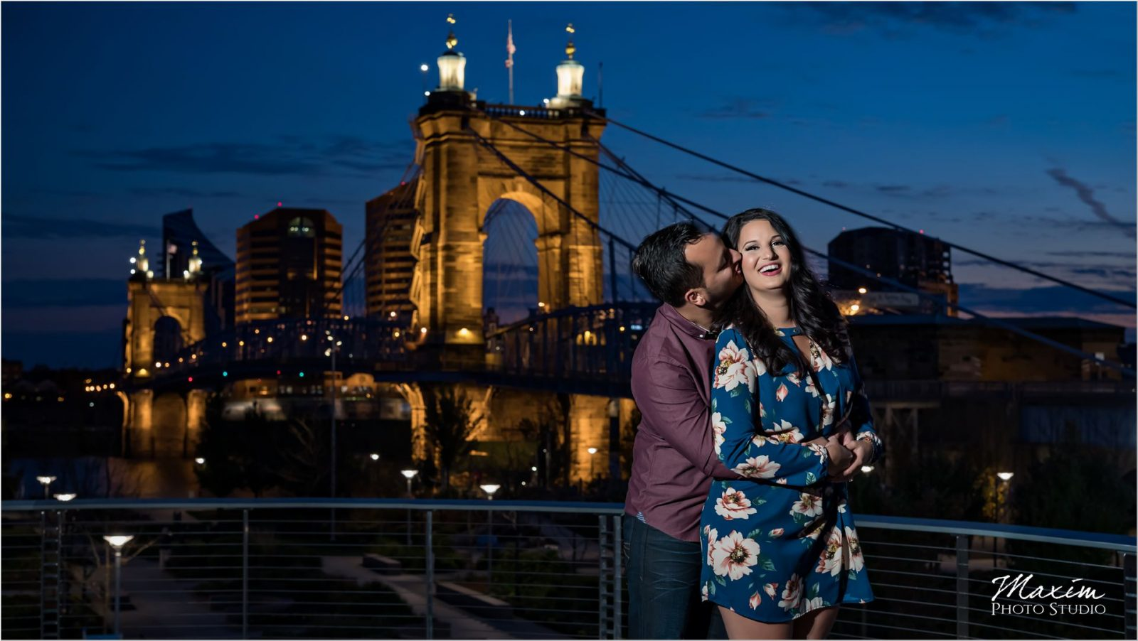 Cincinnati Roebling Bridge night engagement