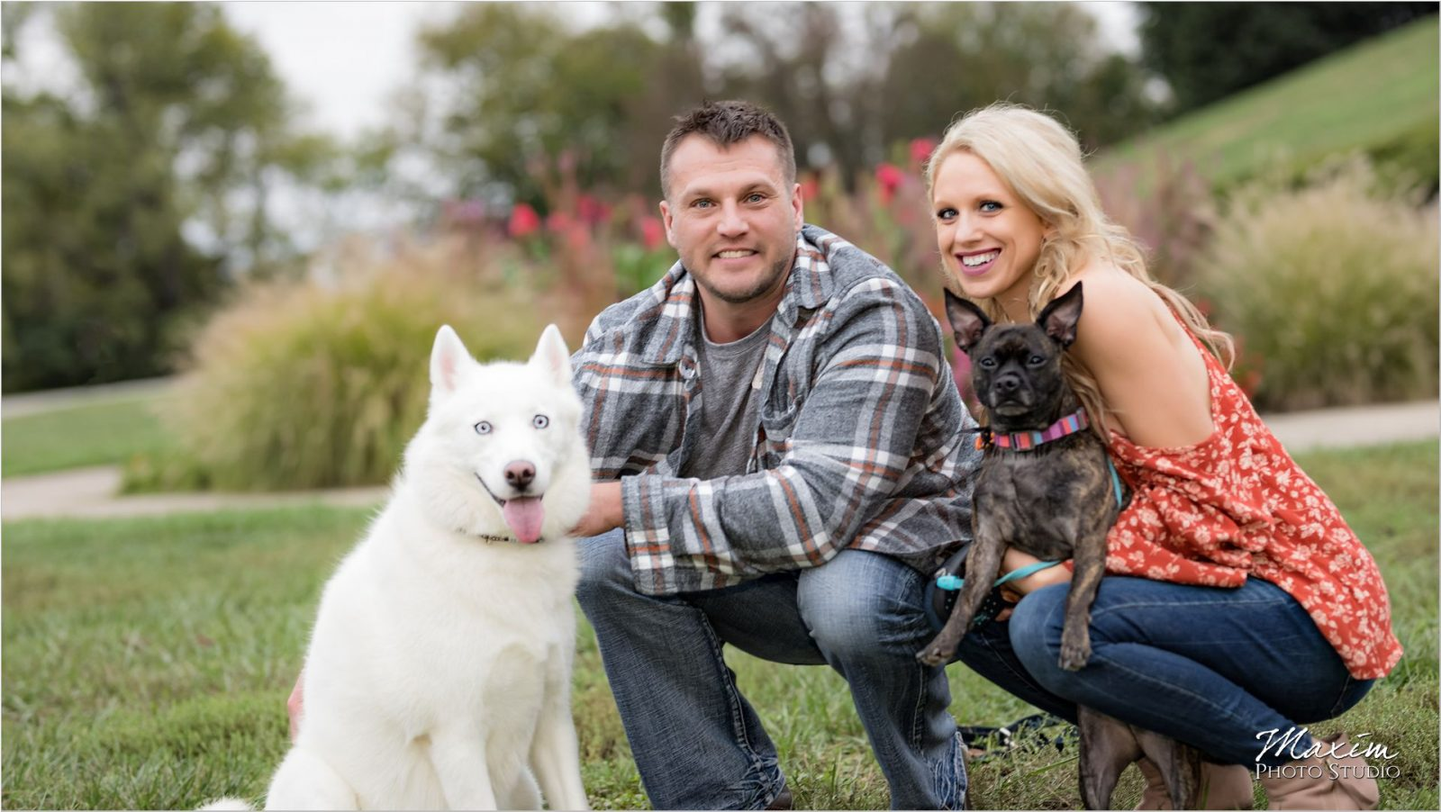 Ault Park Cincinnati Engagement dogs