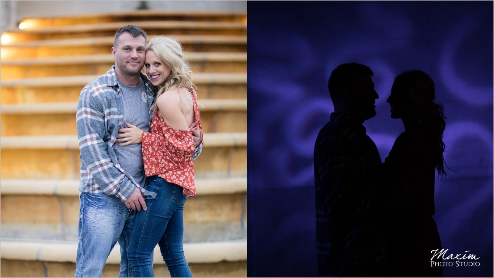 Ault Park fountain night engagement
