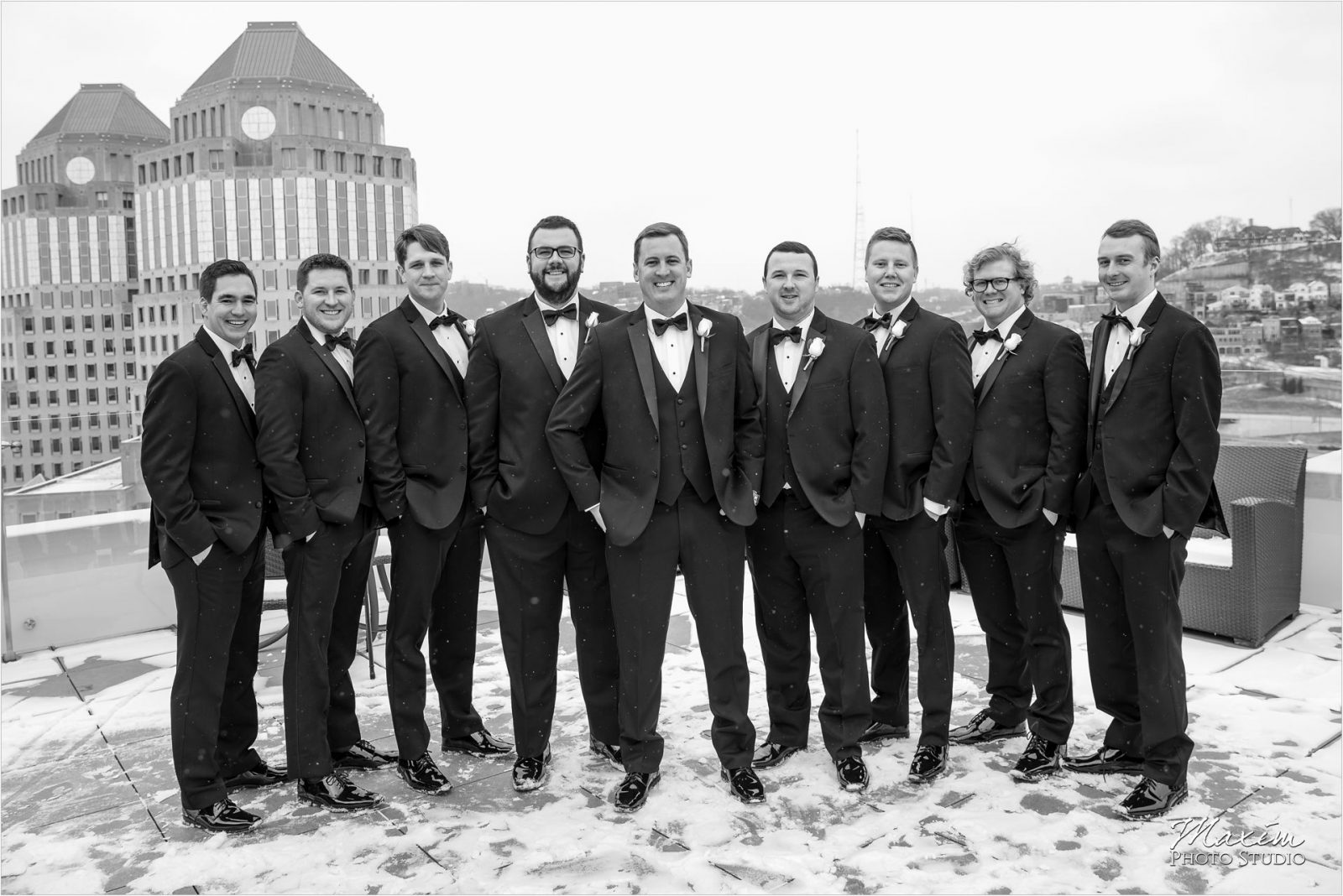 Cincinnati Wedding Photography winter Groomsmen
