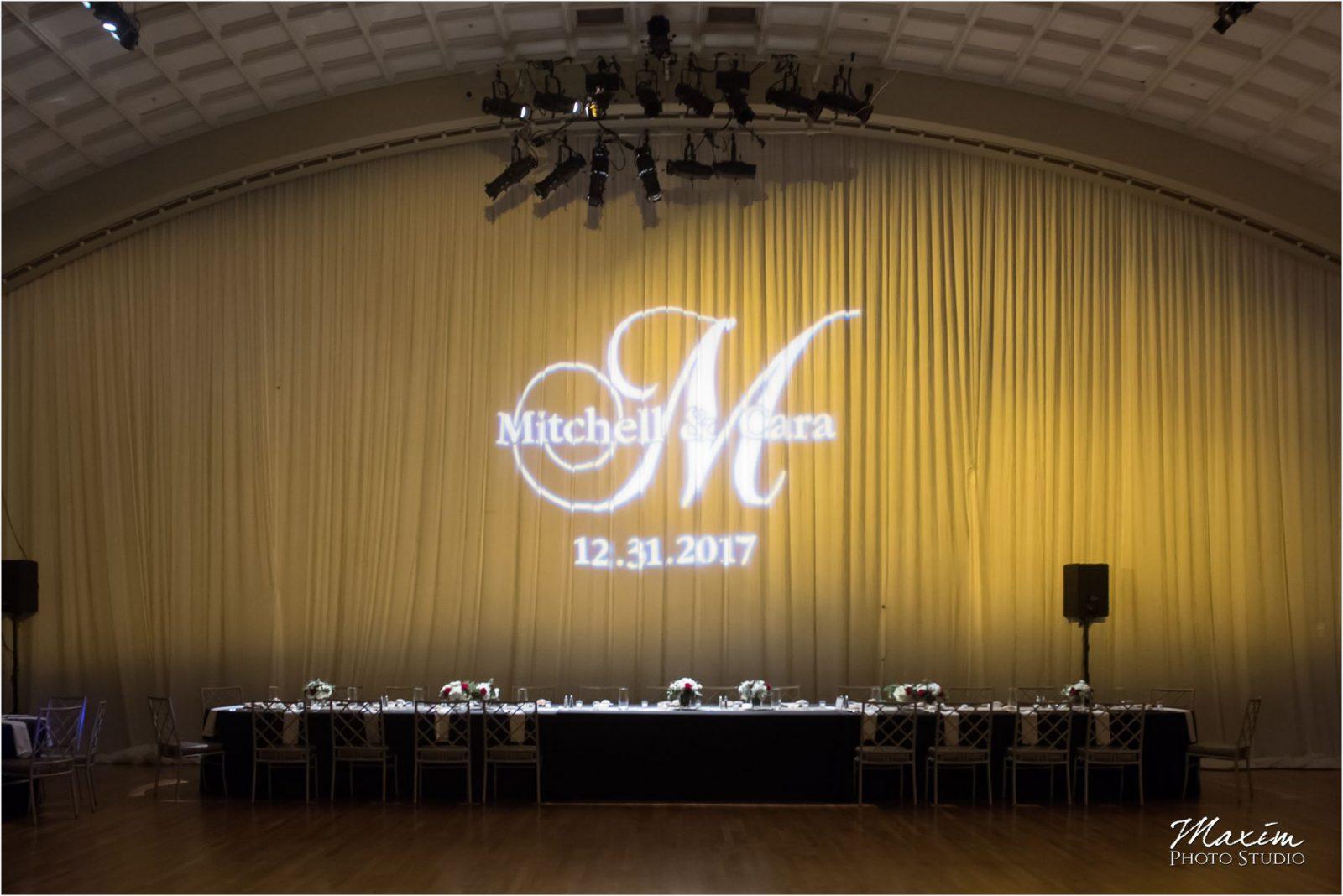 Cincinnati Wedding Photographers Music Hall Wedding Reception Monogram