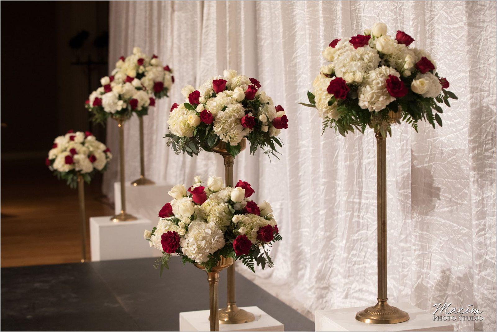 Cincinnati Wedding Photographers Music Hall wedding ceremony flowers