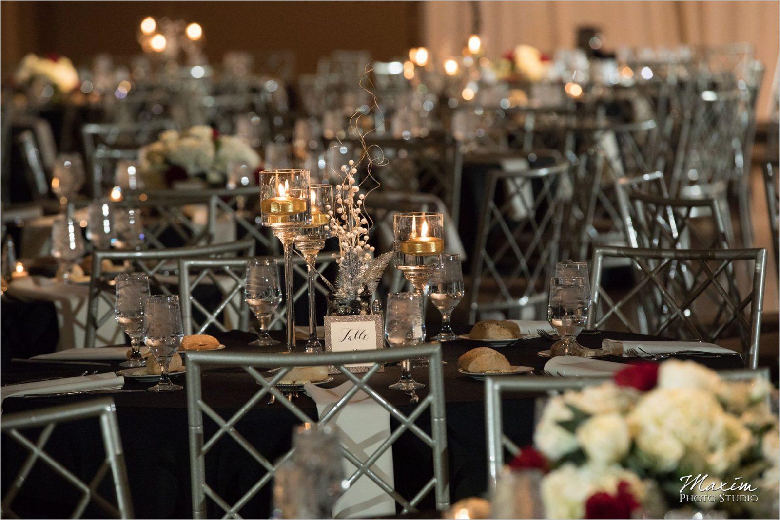 Cincinnati Wedding Photographers Music Hall Wedding Reception Chiavari chairs