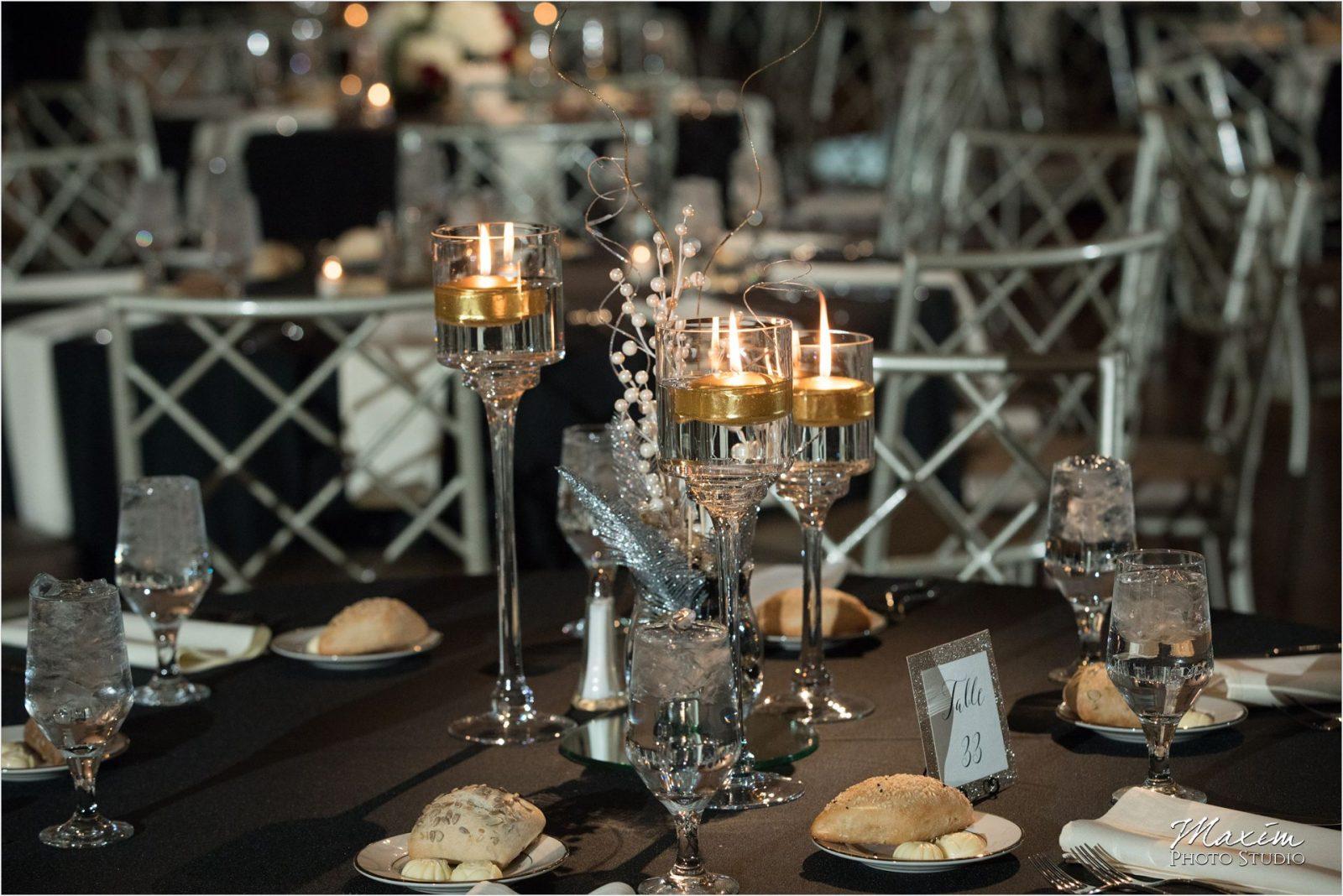 Cincinnati Wedding Photographers Music Hall Wedding Reception Candles