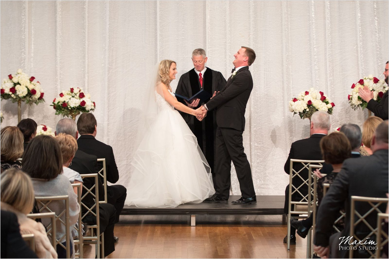 Cincinnati Music Hall Ballroom Wedding Ceremony Bride Groom