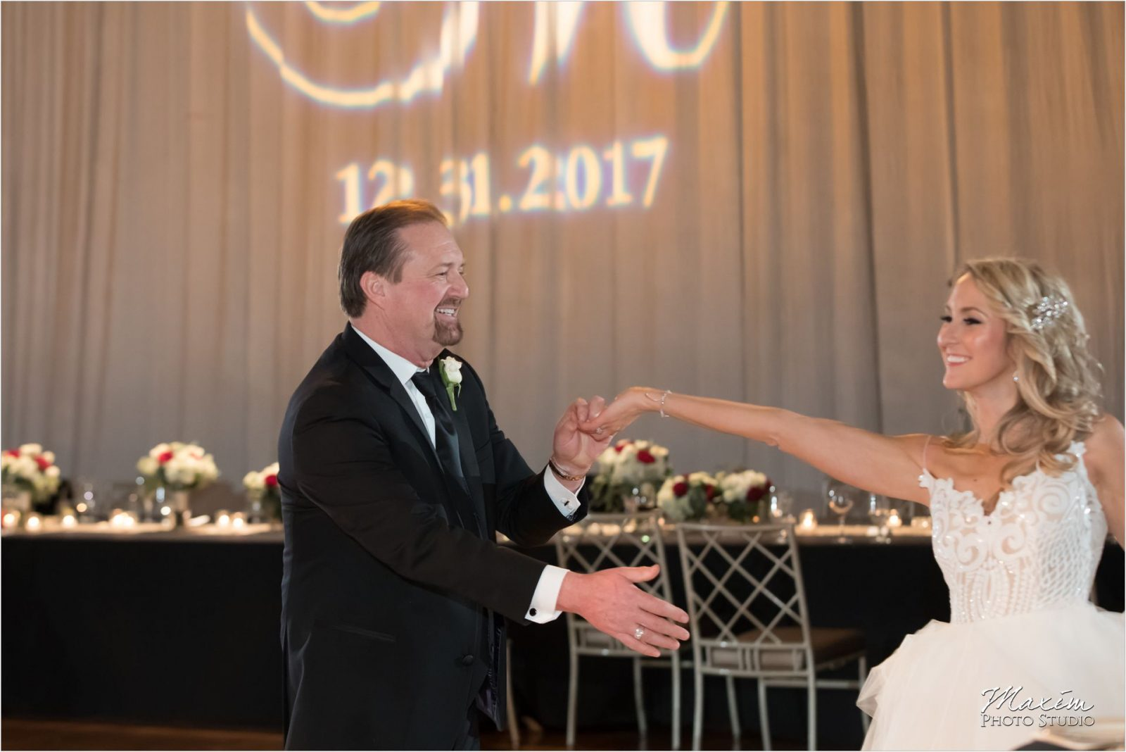 Cincinnati Music Hall Wedding Reception Bride Groom