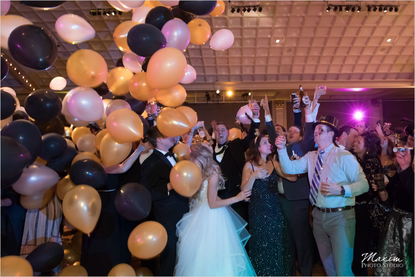 Cincinnati Music Hall Ballroom Wedding Reception Dance Balloon drop