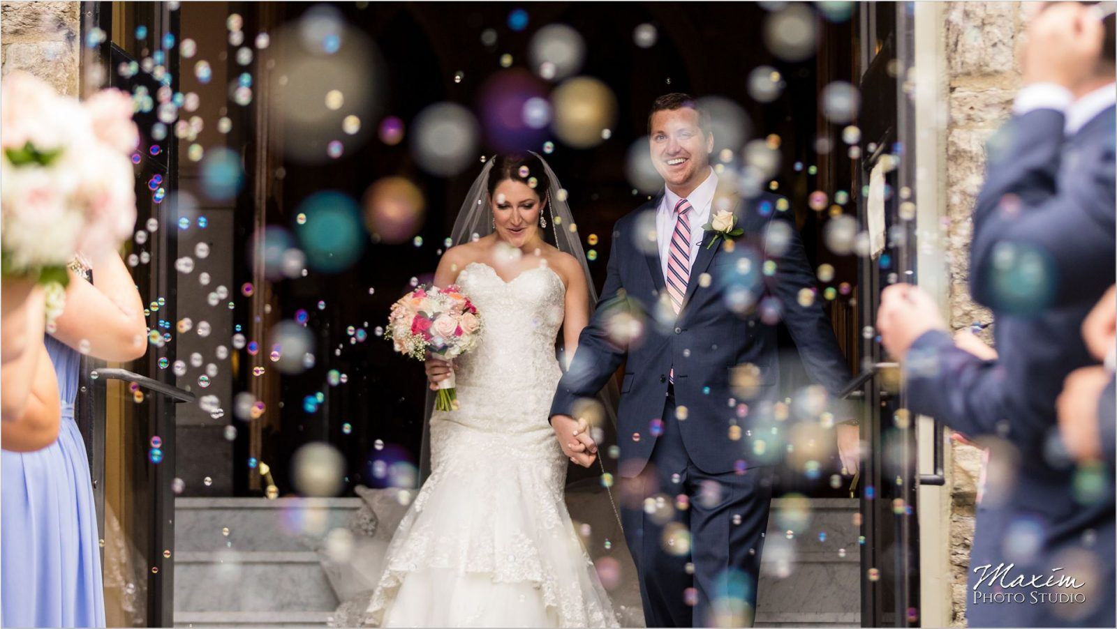 Holy Cross Immaculata Cincinnati Wedding Ceremony Bubbles