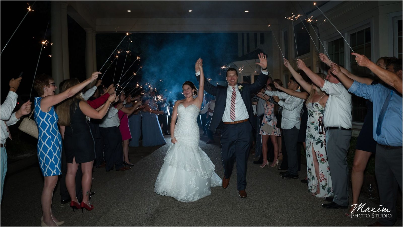 Ivy Hills Country Club Wedding Reception sparklers