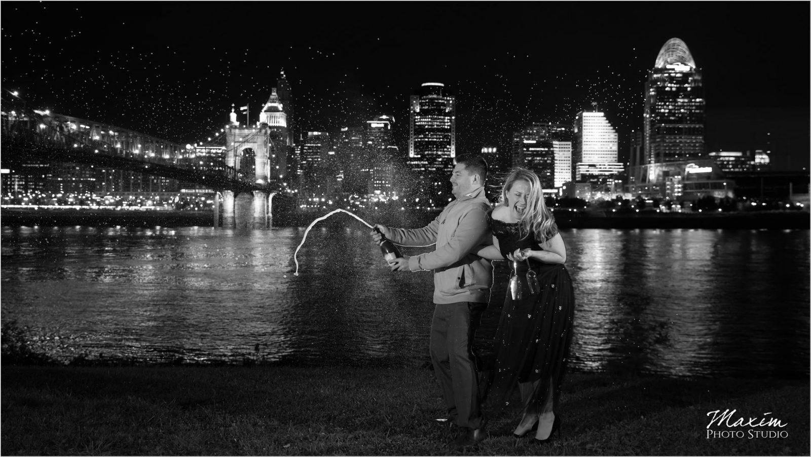 Cincinnati skyline champagne burst