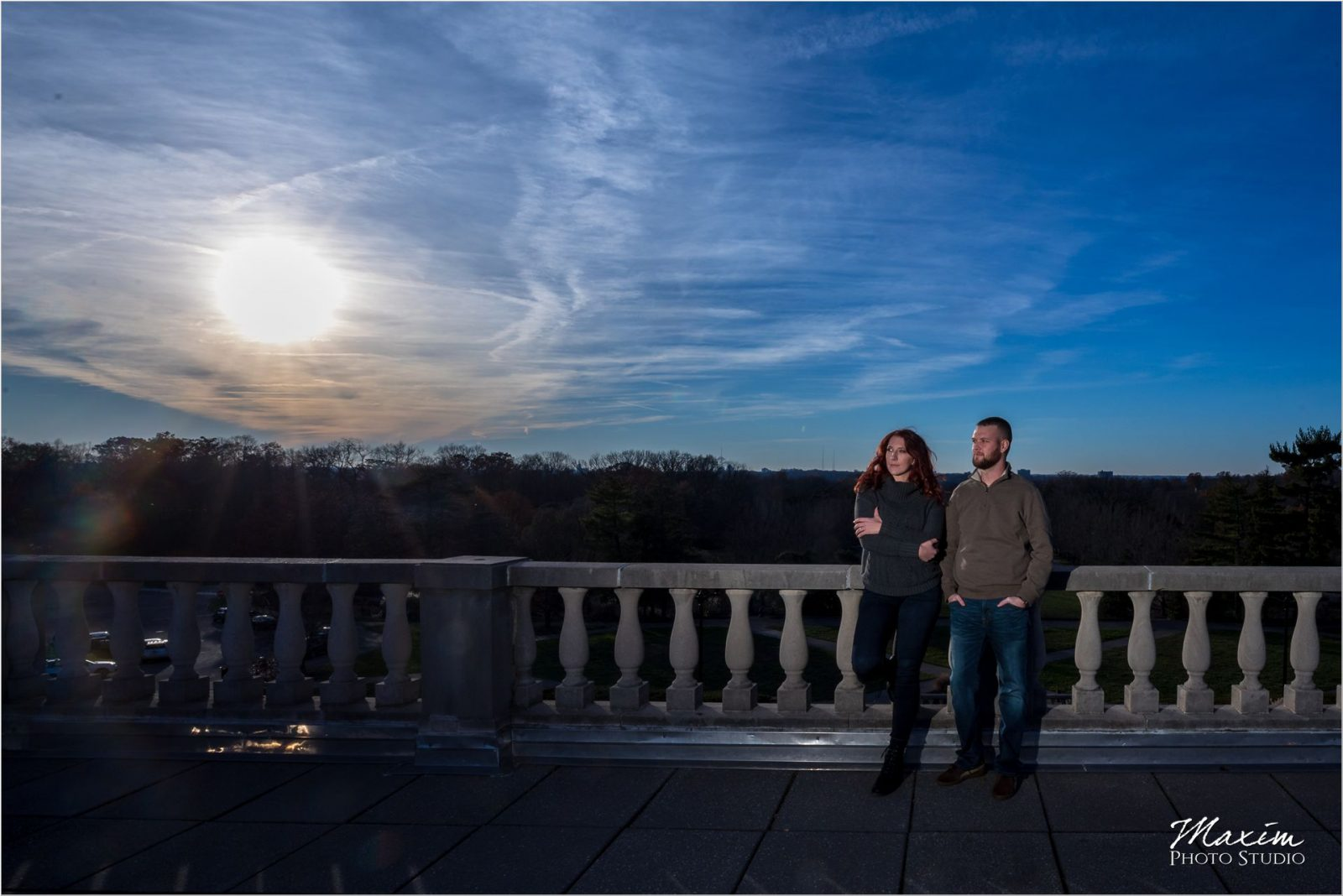 Ault Park Cincinnati Fall engagement sunset