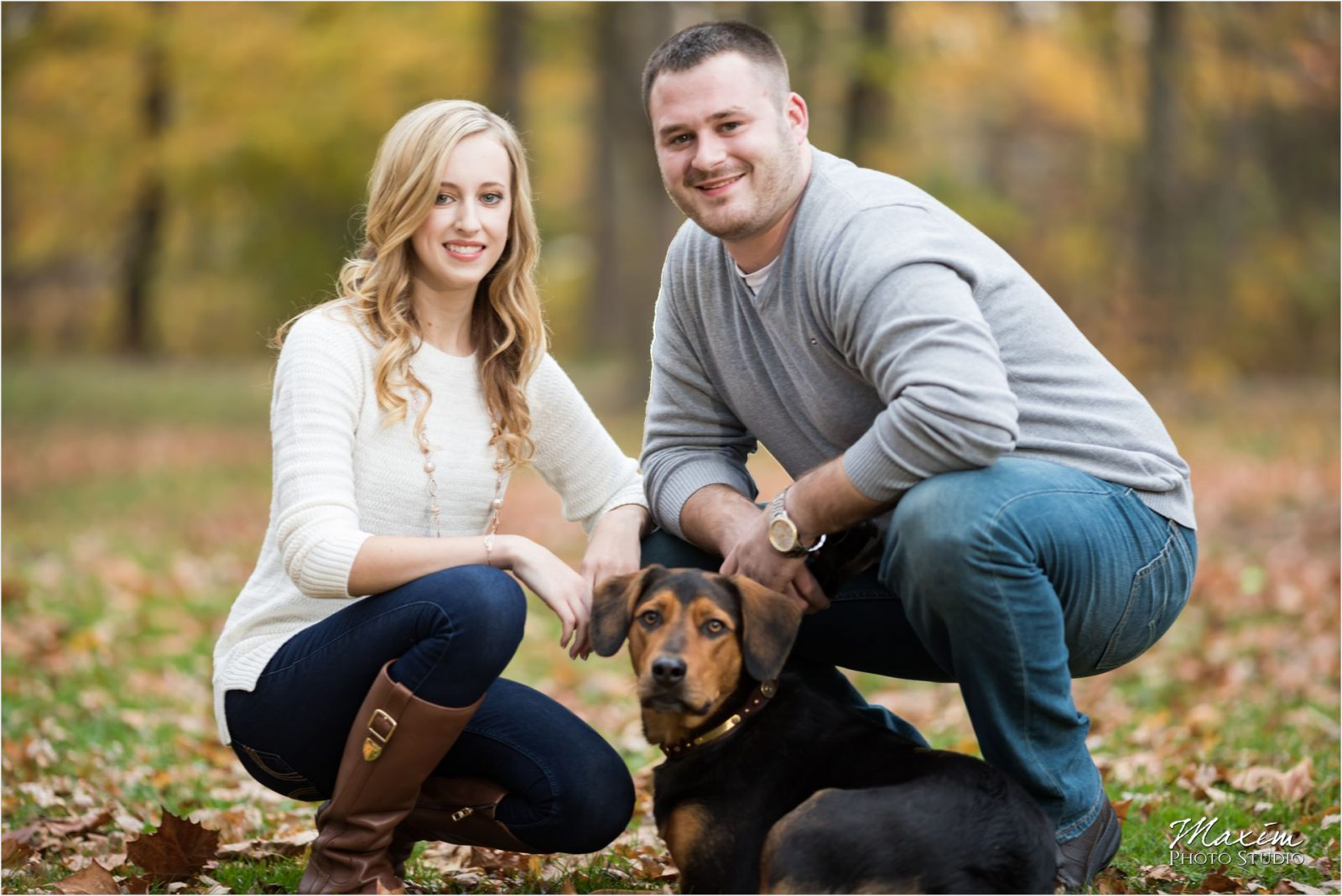 Sharon Woods Ohio night engagement dog