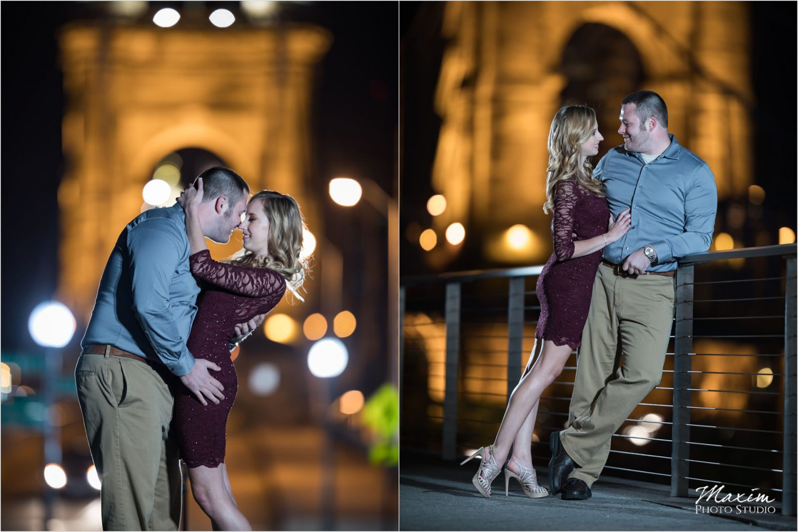 Roebling Bridge Smale Riverfront Park night engagement