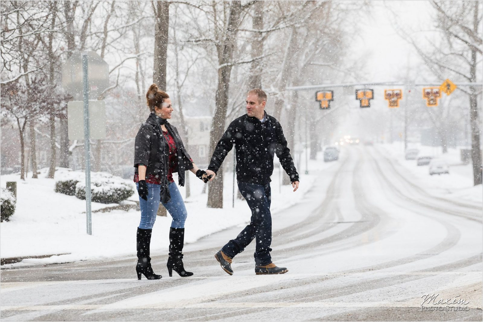 Cincinnati Snow Engagement Photography