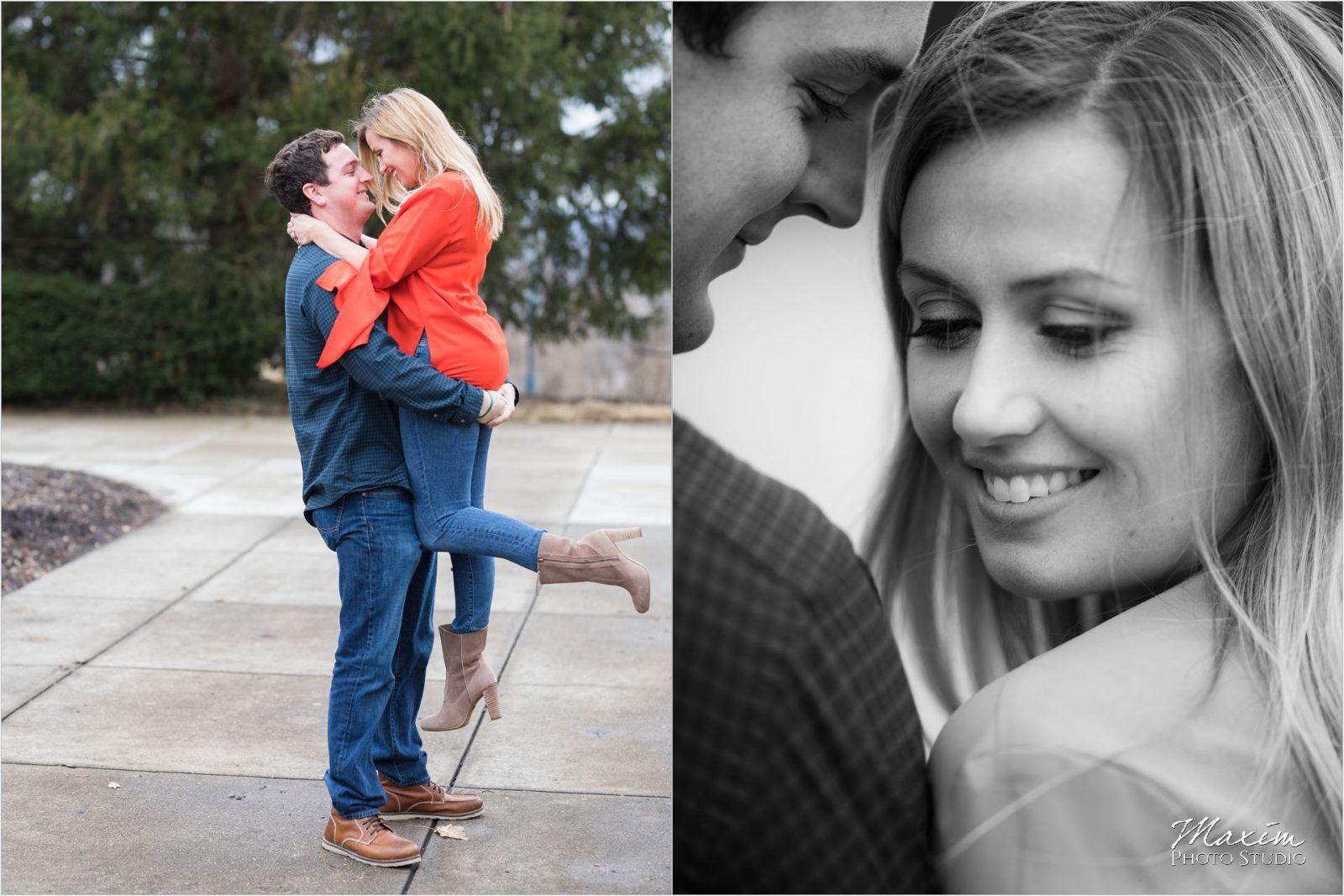 Cincinnati Wedding Photographers Ault Park Engagement couple black white
