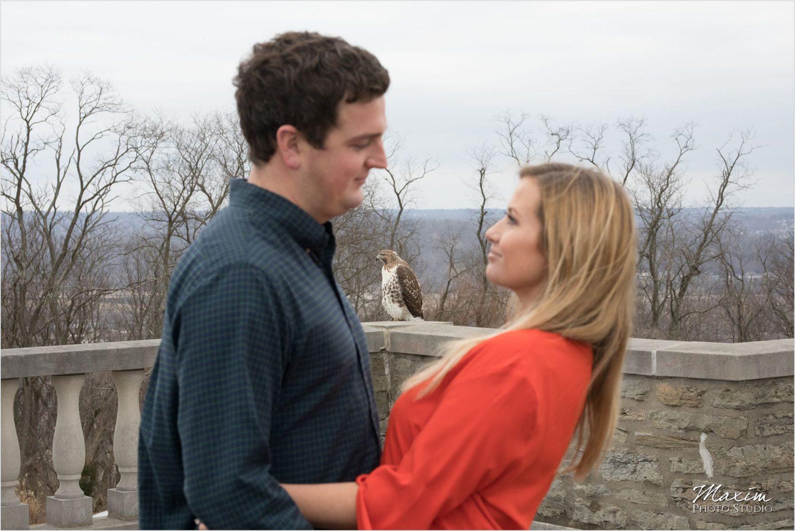Cincinnati Wedding Photographers Ault Park Engagement hawk