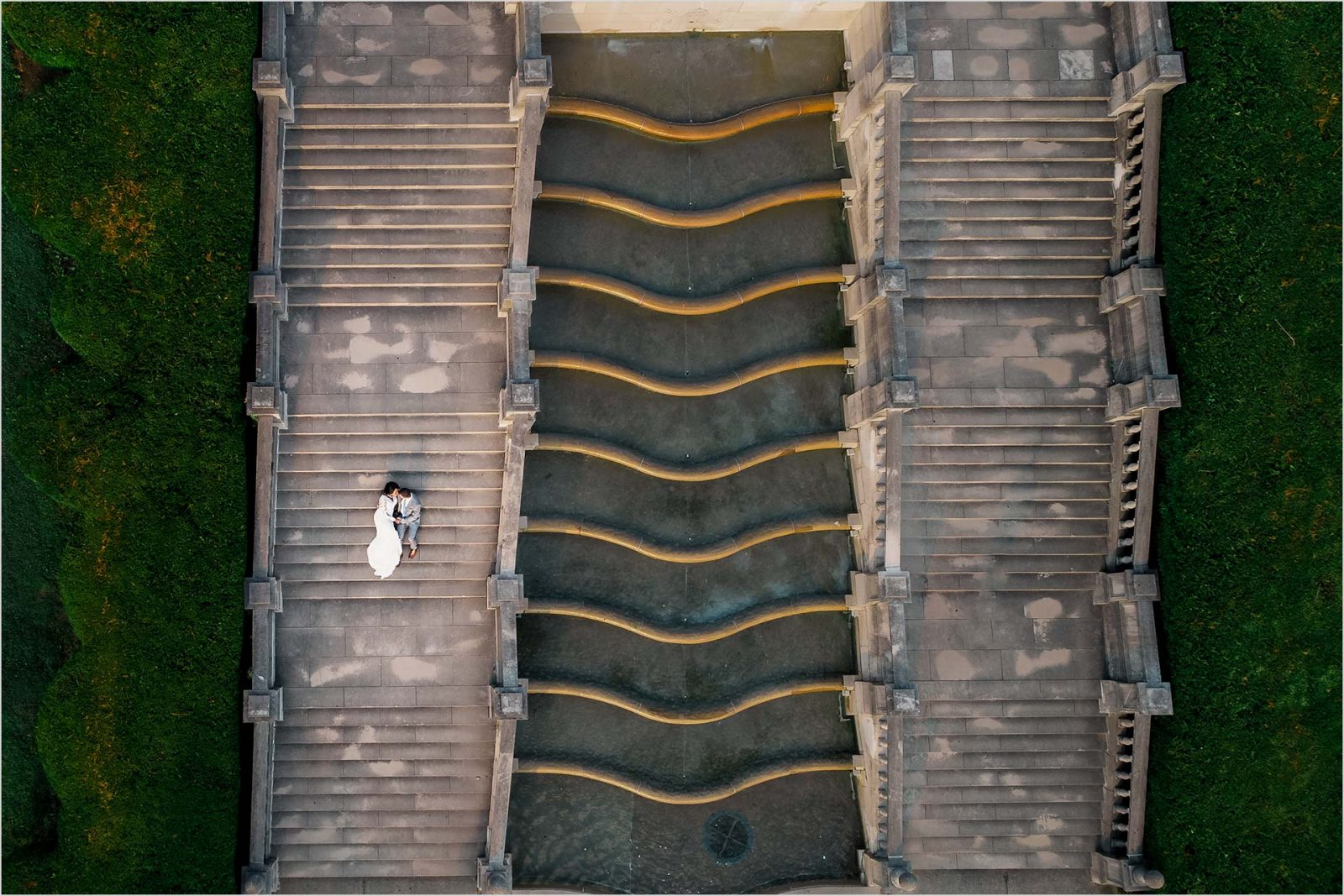 Ault Park Cincinnati Wedding Drone Fountain Stairs