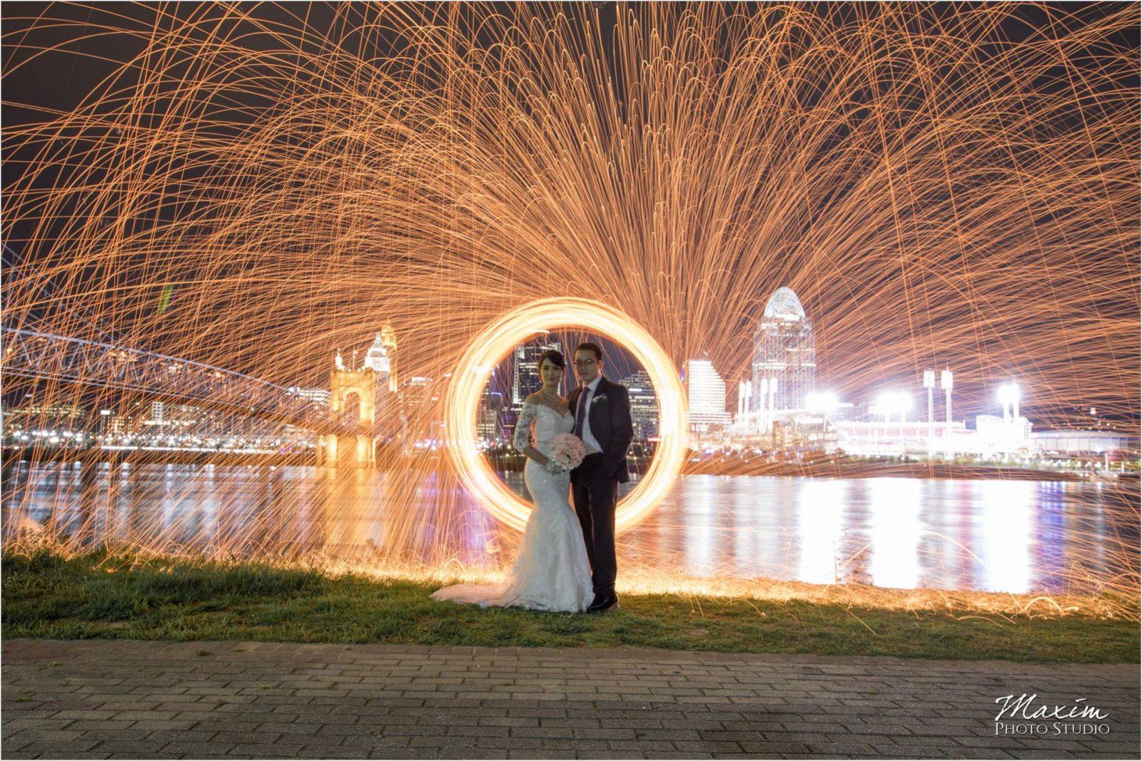 Ault Park Cincinnati Bride groom Sparklers Cincinnati