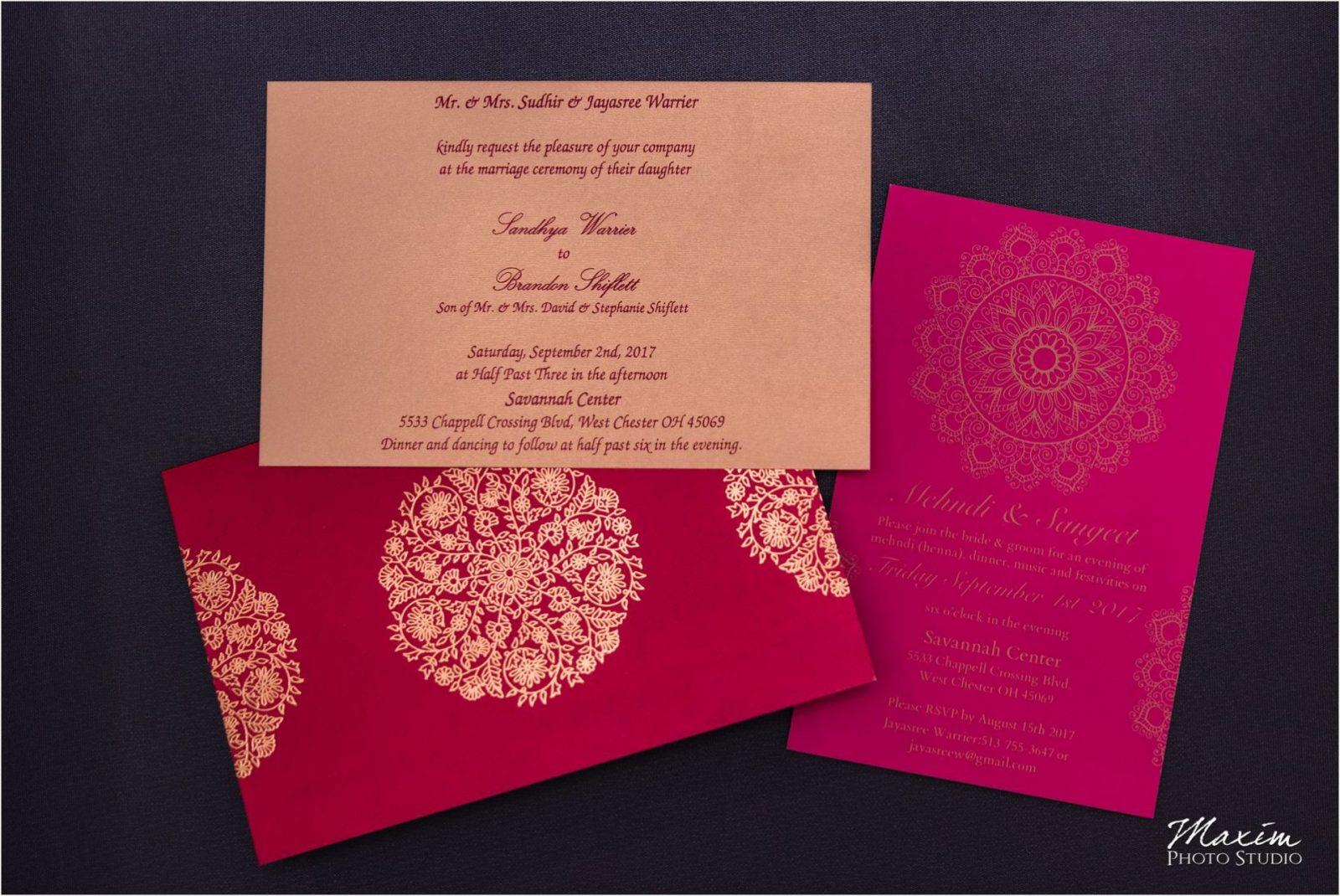 Savannah Center Indian Wedding announcement
