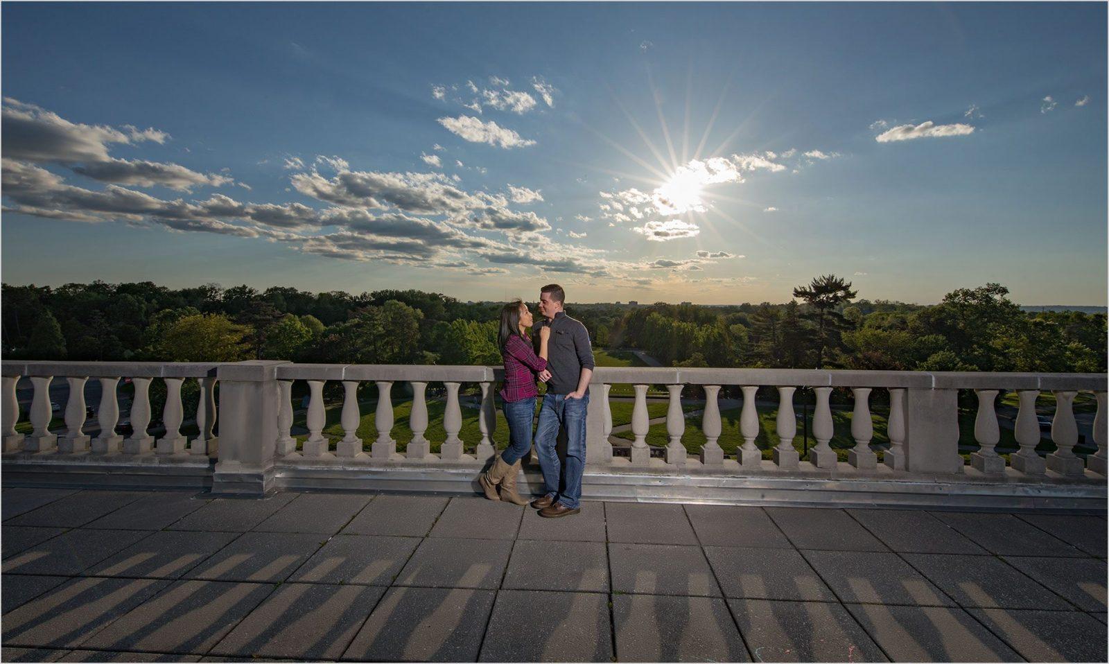 Ault Park sunburst Cincinnati Engagement