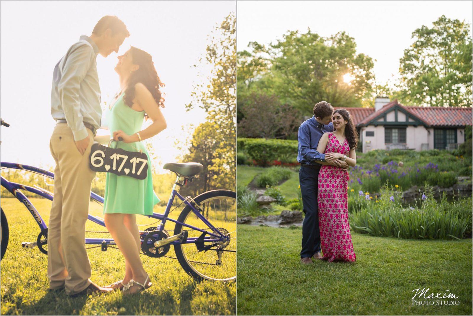 Cox Arboretum Dayton Ohio sunburst engagement bike