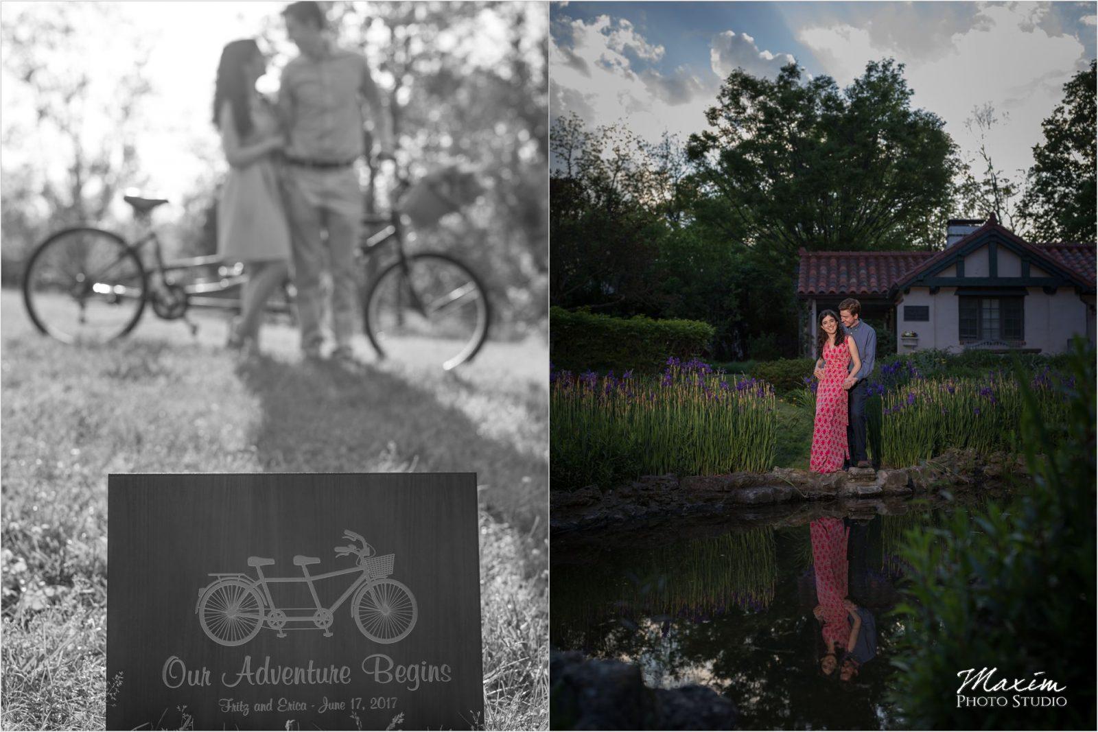 Cox Arboretum Dayton Ohio engagement tandem bike