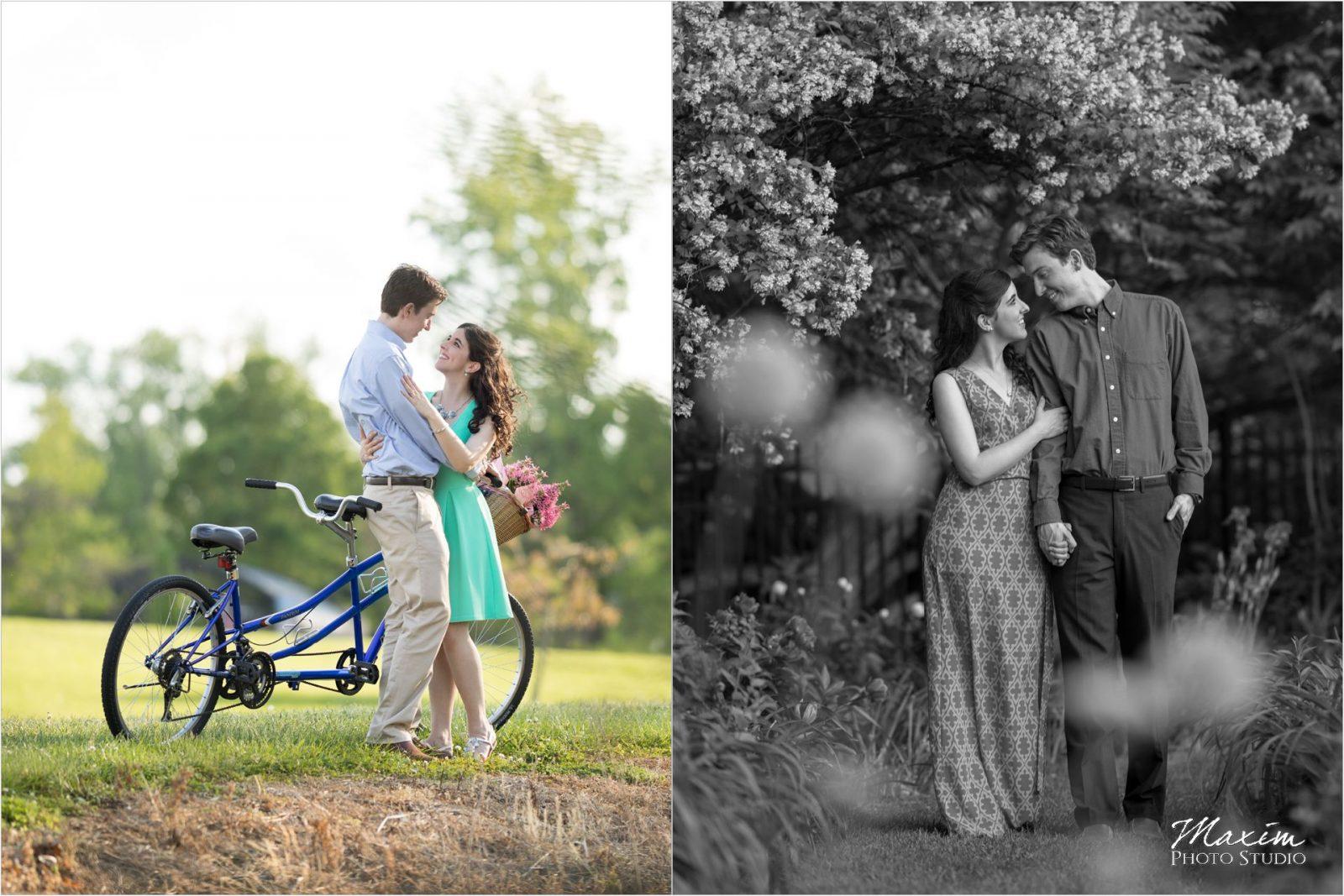 Smith Gardens Cox Arboretum Dayton Ohio engagement tandem bike