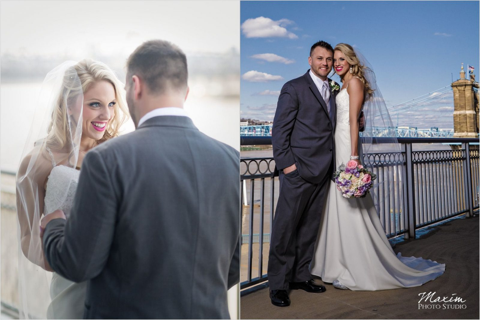 Cincinnati Marriott Rivercenter, Covington Wedding, Cincinnati skyline, First look