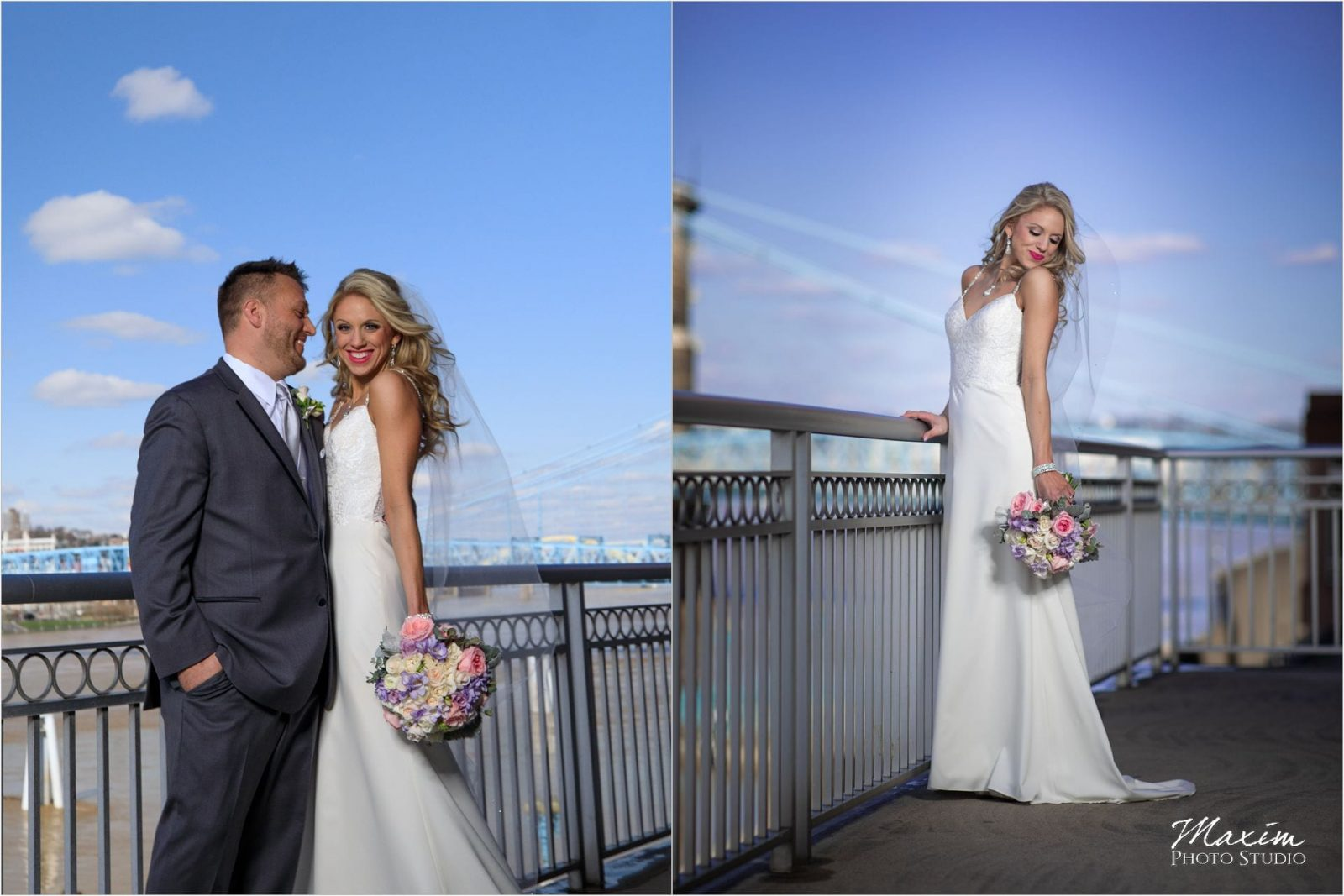 Cincinnati Marriott Rivercenter, Covington Wedding, Cincinnati skyline, Wedding Portraits