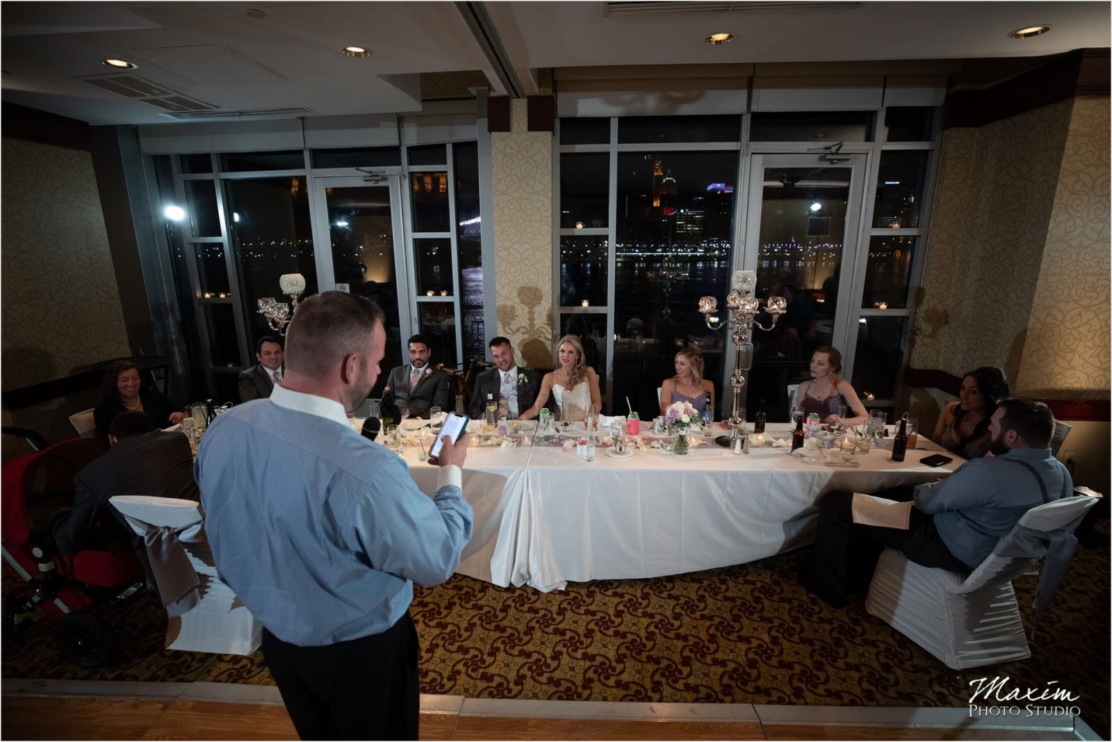 Cincinnati Marriott Rivercenter, Covington Wedding, Cincinnati skyline, Wedding Reception, Bridal Party Toasts