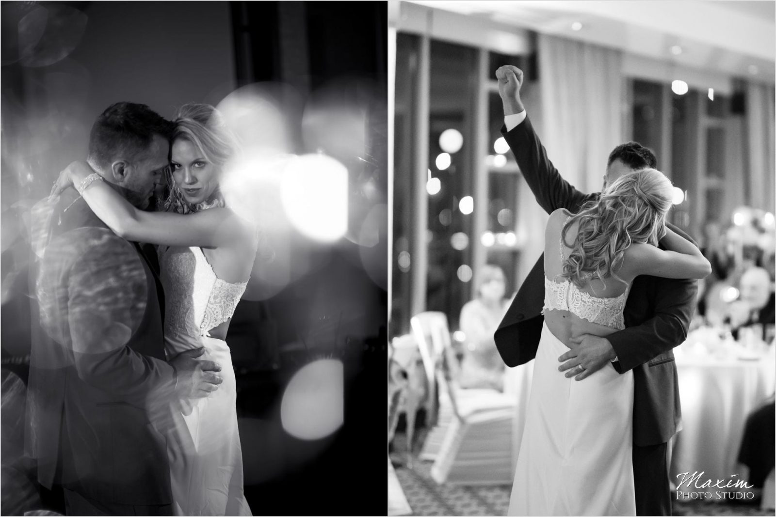 Cincinnati Marriott Rivercenter, Covington Wedding, Cincinnati skyline, Wedding Reception, Bride groom first dance, black and white