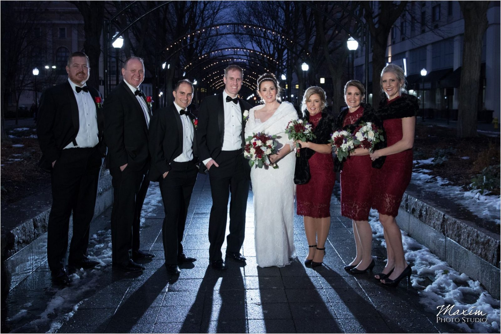 Cincinnati Garfield Park Piatt Park Bridal Party Winter wedding