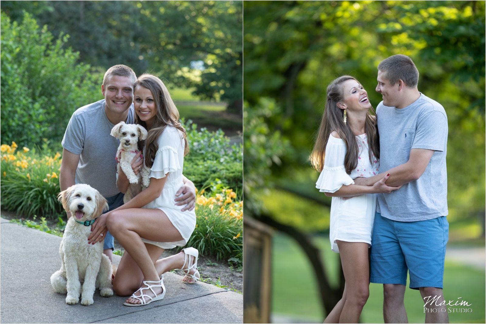 Eden Park Cincinnati spring engagement dogs