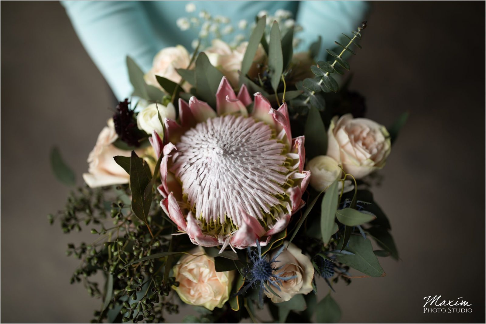 King Protea Cincinnati Wedding Bridal bouquet