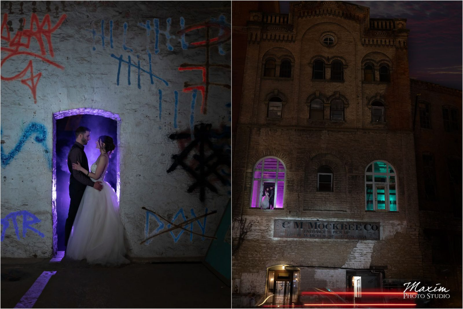 The Mockbee Bride groom off camera purple gels
