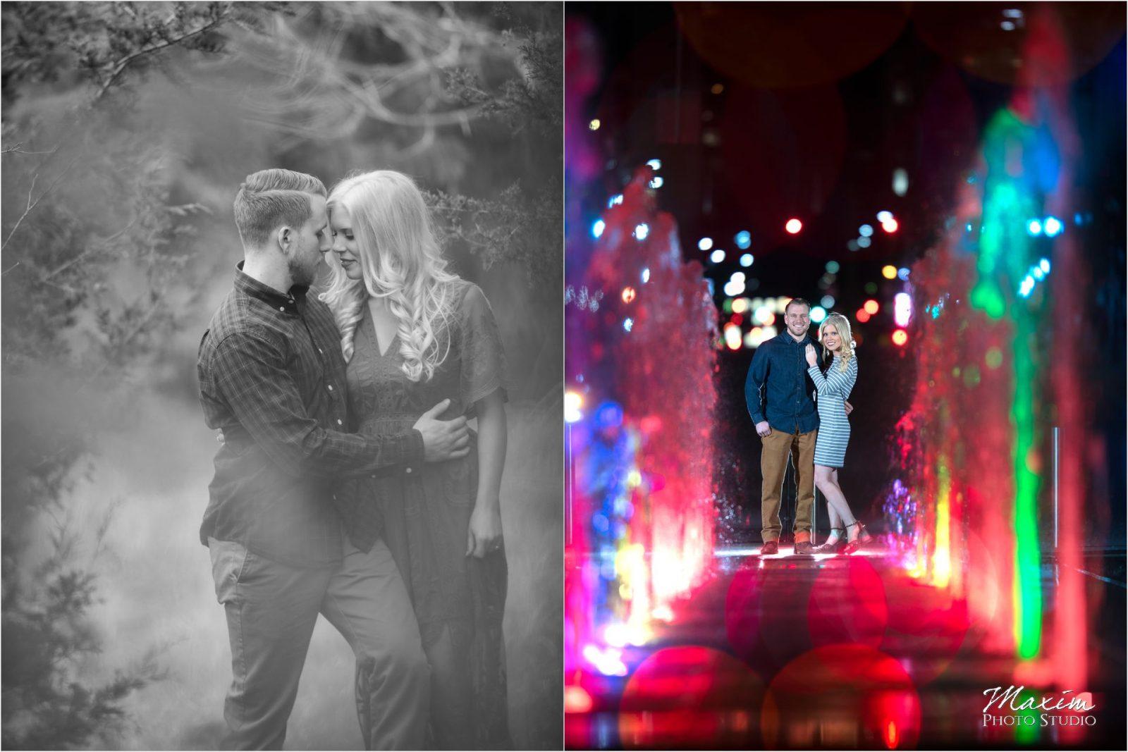 Cincinnati Wedding Photographers Kentucky Farm Engagement fountain