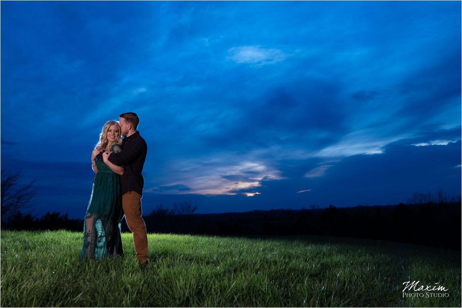 Cincinnati Wedding Photographers Kentucky Farm Engagement blue sunset