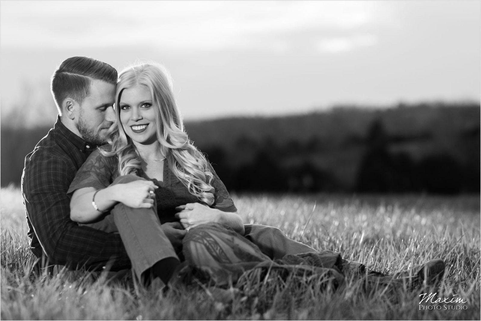 Cincinnati Wedding Photographers Kentucky Farm Engagement black white sunset