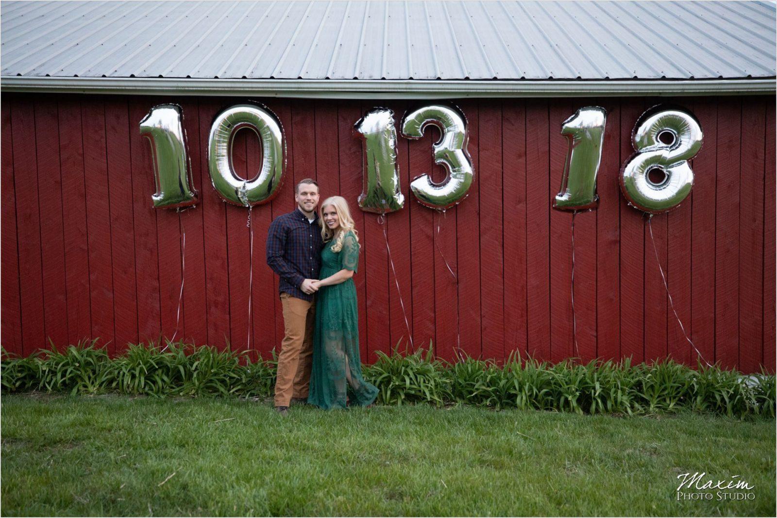 Cincinnati Wedding Photographers Kentucky Farm Engagement wedding date balloons