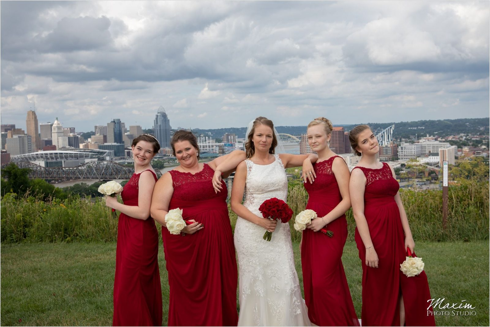 Devou Park Cincinnati downtown overlook bridesmaids