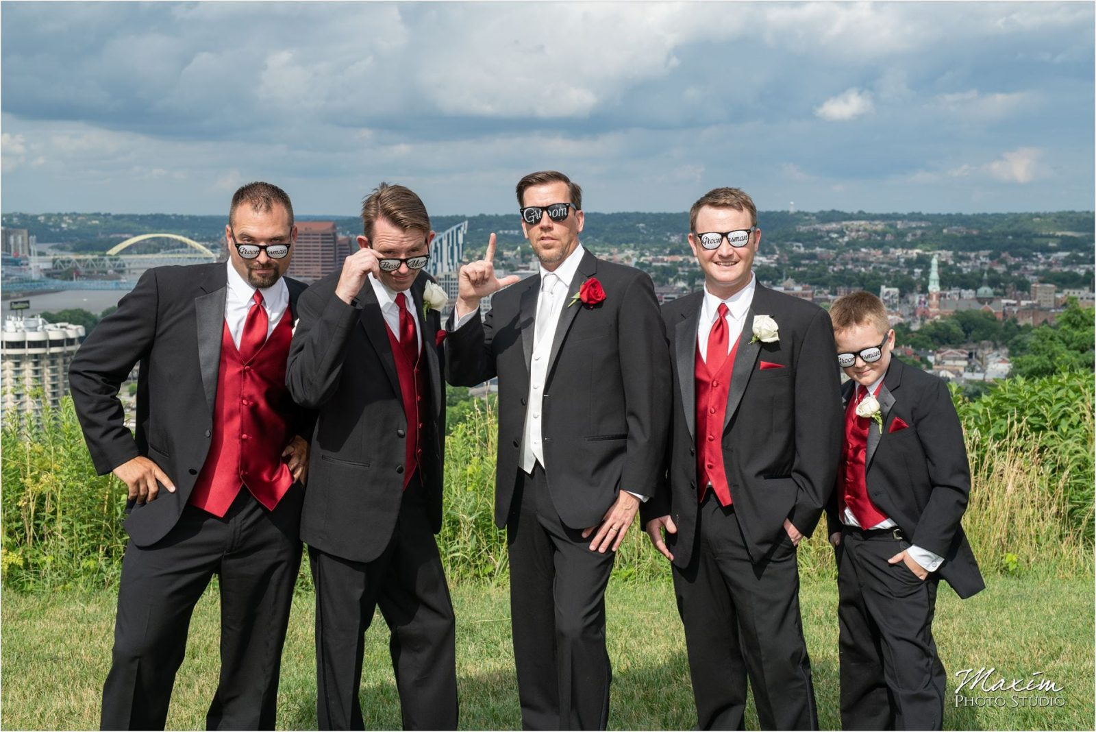 Devou Park Cincinnati downtown overlook Groomsmen