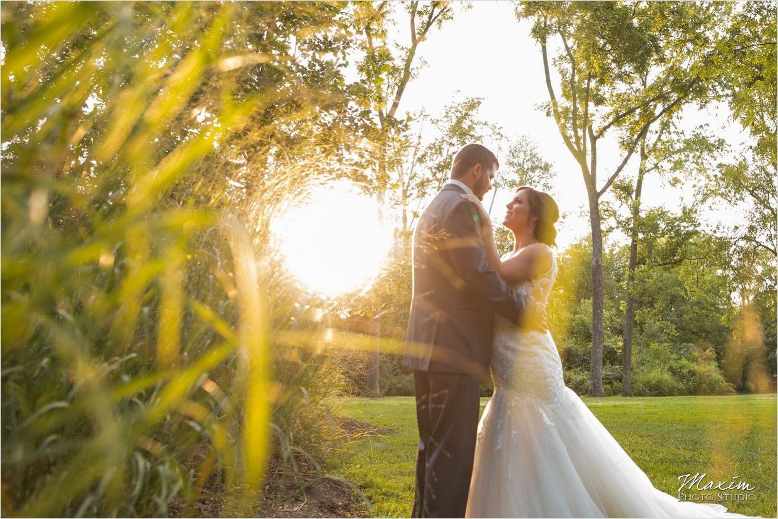 Pattison Park Wedding Reception sunset bride groom