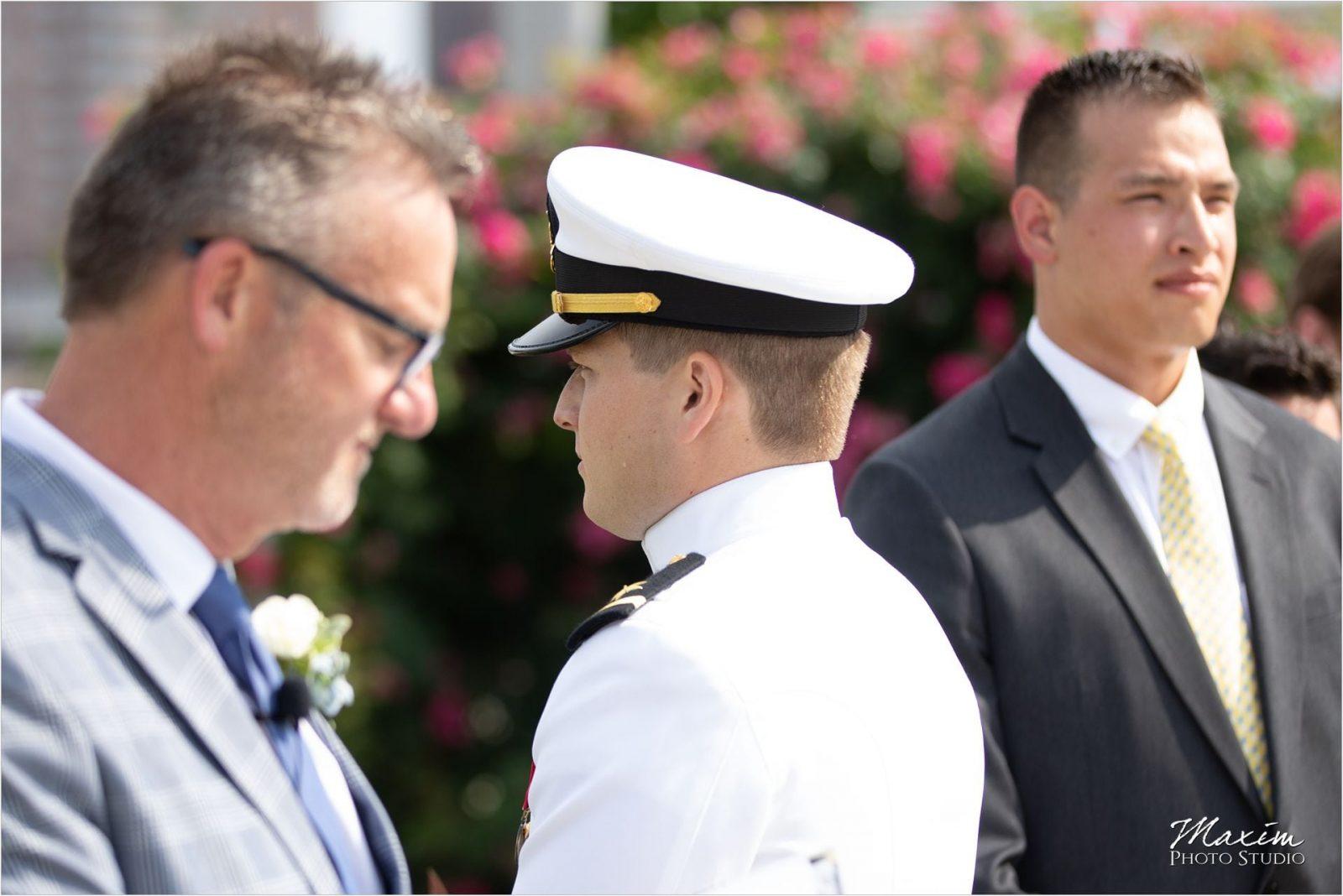 Anderson Pavilion Cincinnati Wedding Photographer Ceremony Groom crying