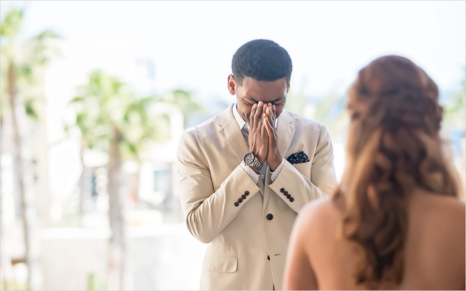 Mexico Destination Wedding first look groom crying