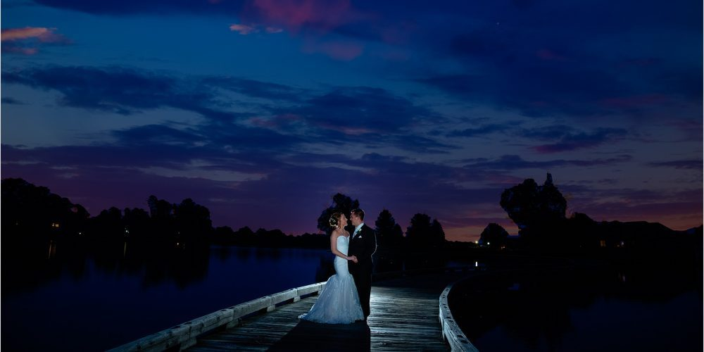 Evening marriage on oasis bridge
